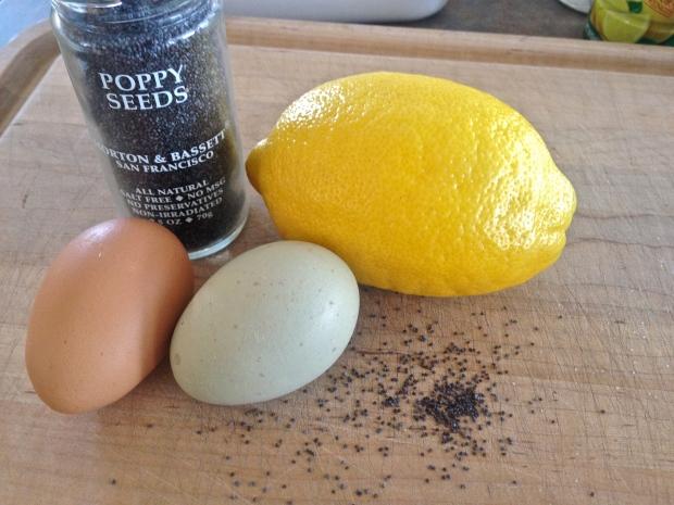 beautiful farm fresh eggs with poppy seeds and a fresh lemon