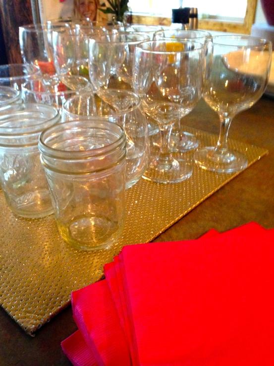 mason jars and wine glasses