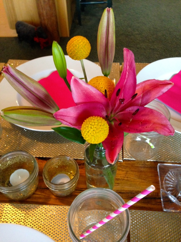 patterned straws and golden mason jar votives completed the look!