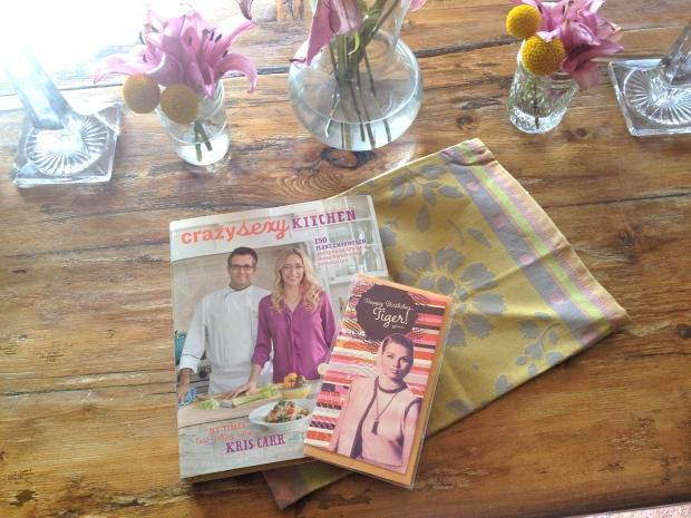 a new tea towel, book and fun card