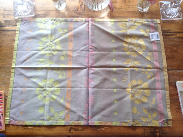 lay tea towel down with the inside out