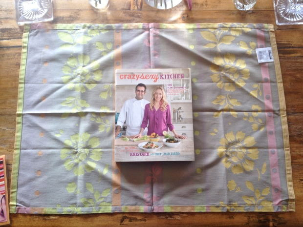 place book in center of the tea towel