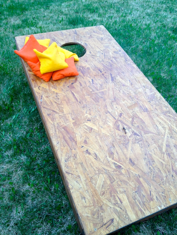 homemade cornhole boards with Cornhole E.O. corn bags
