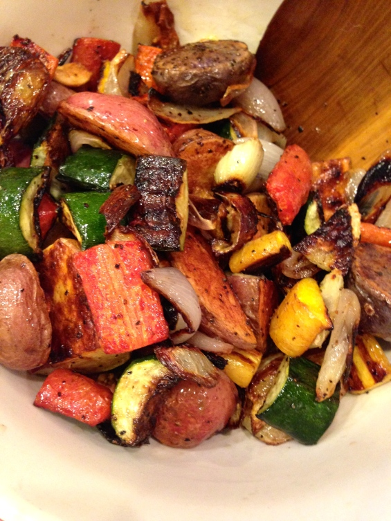 finished roasted veggies, lightly tossed in the vinaigrette