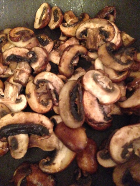 sautéed mushrooms — I hate mushrooms, so we cooked them separately. But, you can add them earlier in the process.