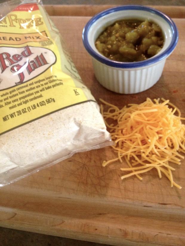 cornbread + green chiles + cheddar cheese = brilliant combo