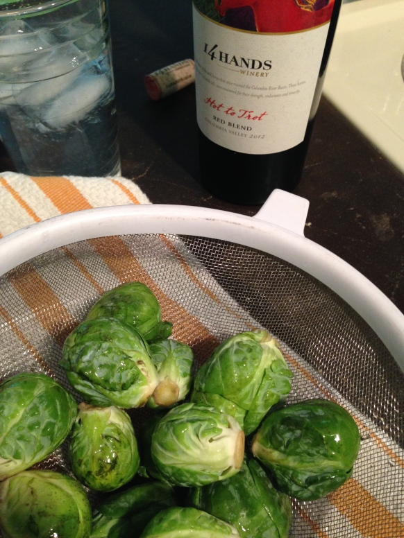 medium sized Brussels with a backdrop of red wine