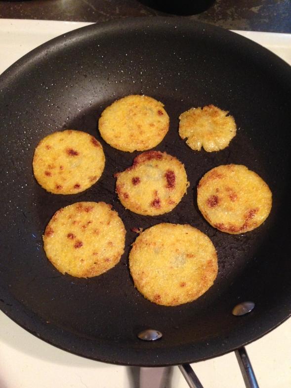 browned polenta crisps