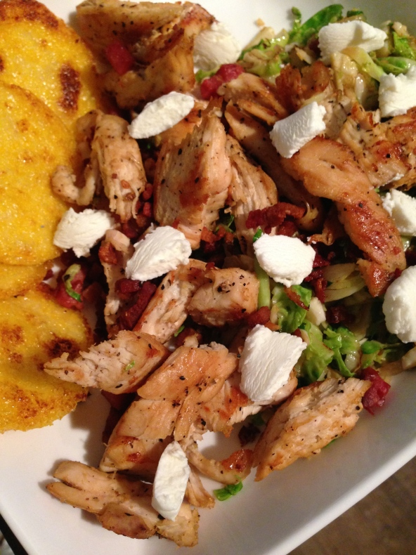 Brussels sprouts, shallots, pancetta, polenta, and chicken breast