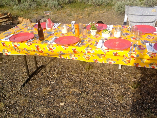 "the boy's wonderful mother created a table setting worthy of""glamping"""
