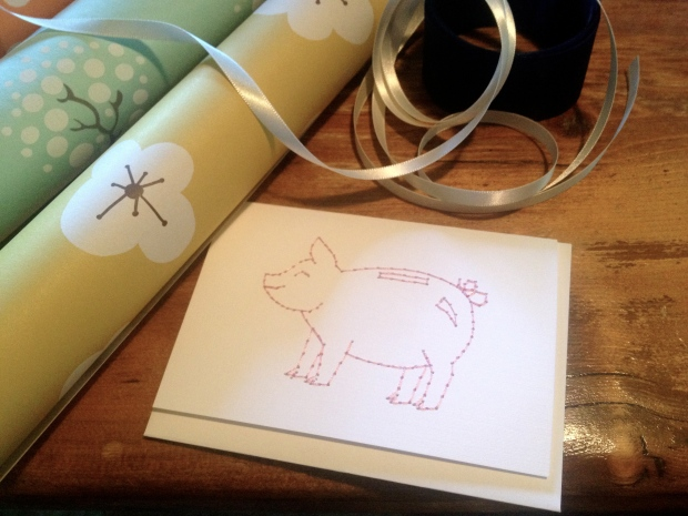 how cute is this little embroidered pig card?! my mom loves pigs which makes it that much better.
