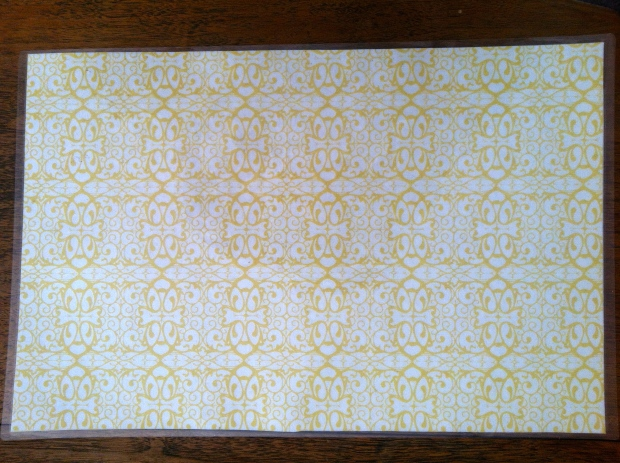 I use this a versatile yellow print place mat for many occasions!