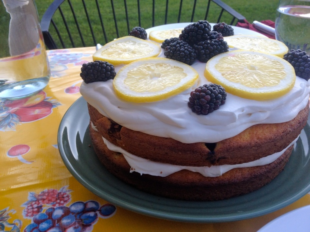 the simplest Lemon-Blackberry Cake (directions coming soon!)