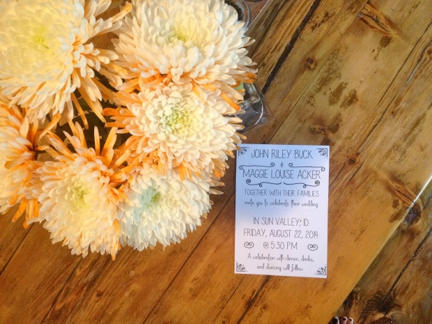 the invitation & spider mums that are brightening my table