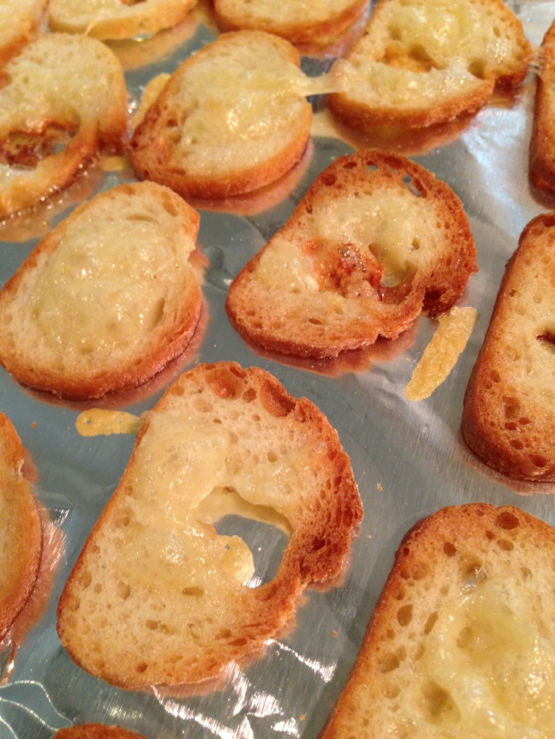 toast the bread, butter, and a pinch of gruyere for about ten minutes to make sure the bread is crispy