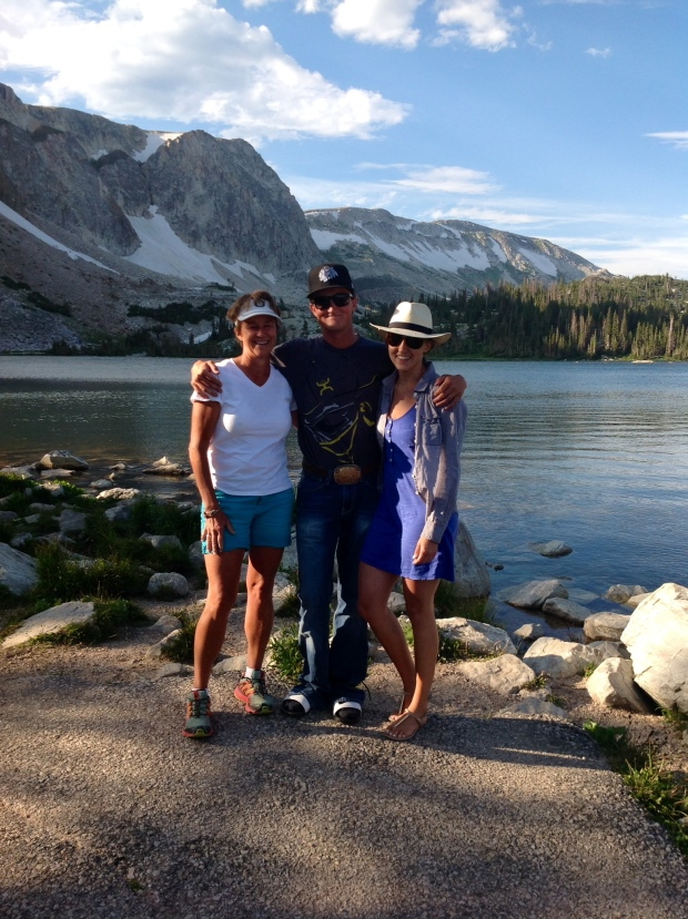 annual family photo at Lake Marie on the 'Snowy Range Scenic Byway'