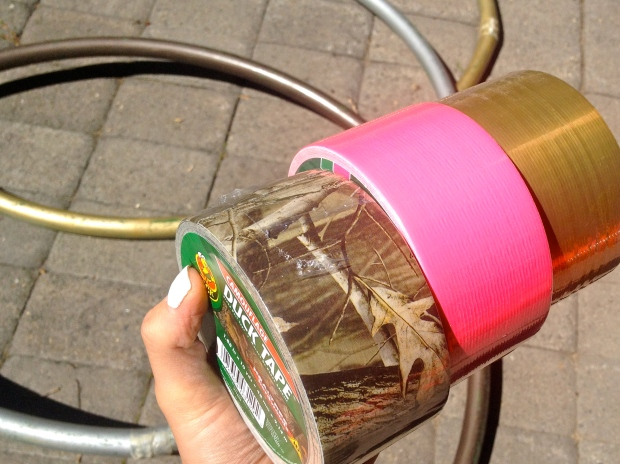 colors of duck tape - i had to make a camo hula hoop so the boy didn't feel left out