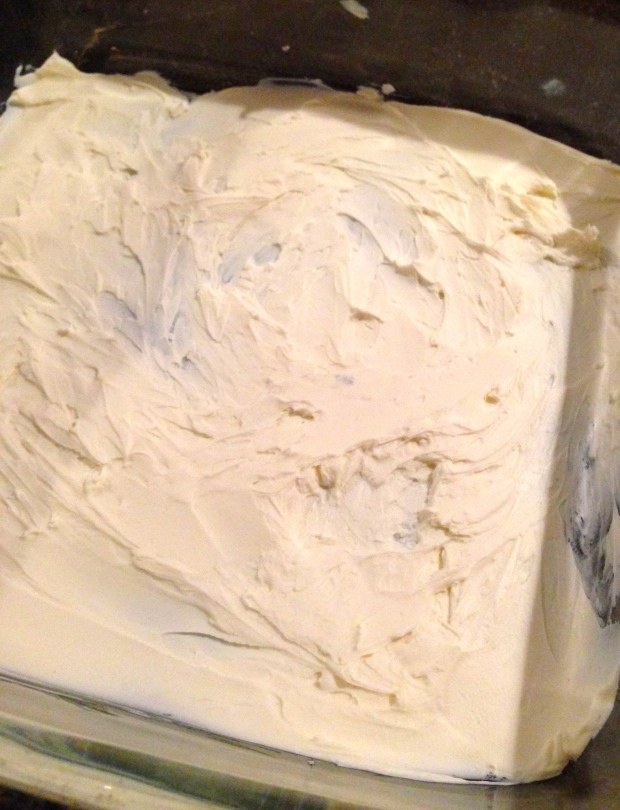 thin layer of cream cheese in the bottom