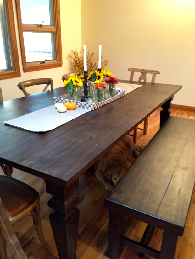 new dining room table with a bench from Cost Plus World Market