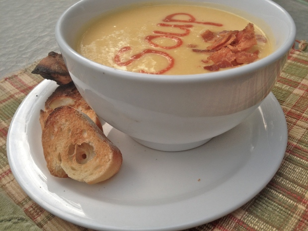 soup with a touch of bacon and side of toast for the boy