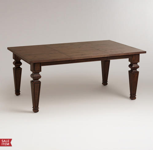 """World Market """"Bishop"""" dining room table — can easily seat 8 with two extra leaves"""