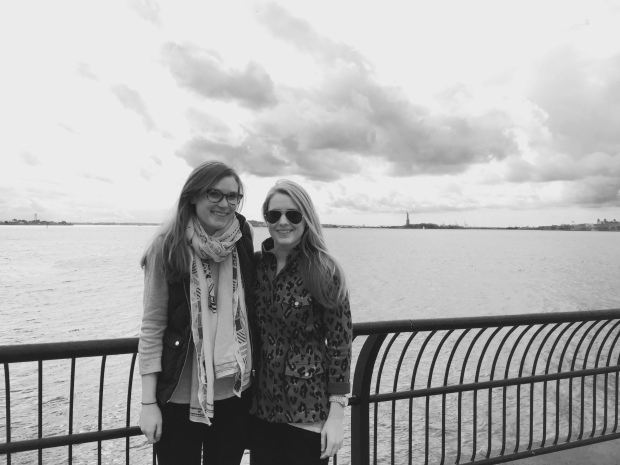 my dear friend caitlin who I met for lunch right by her office! Oh hey, lady liberty!