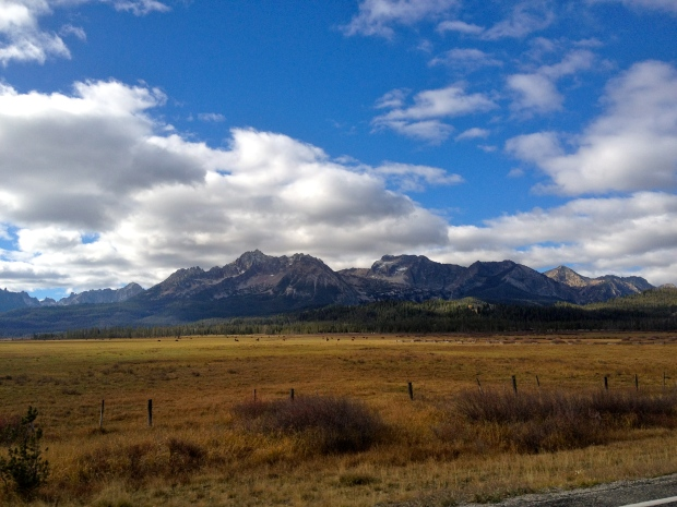 view of the sawtooth mountain range from just outside the bakery