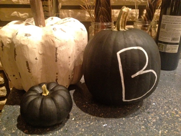 """b"" pumpkin with chalkboard paint"