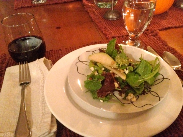 pear and toasted nut salad