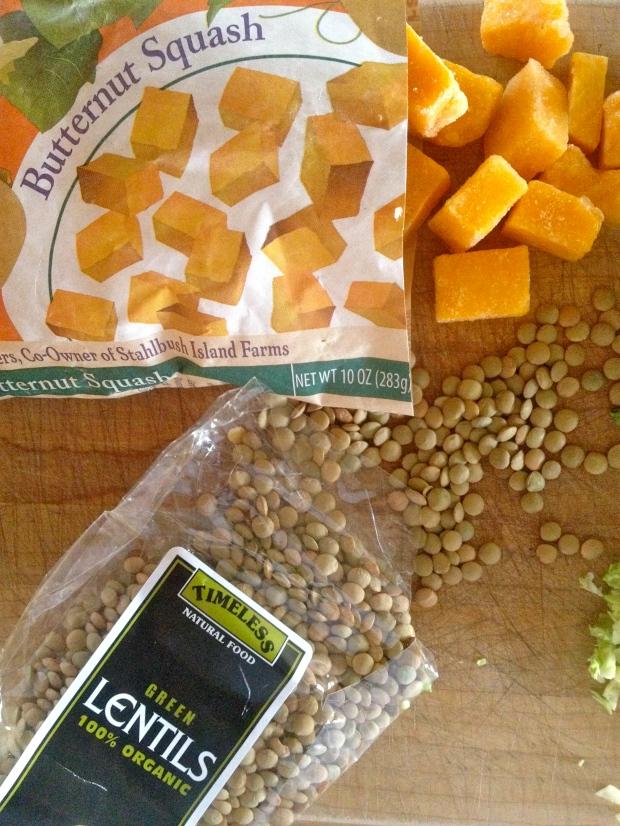 great lentils & butternut squash for soup
