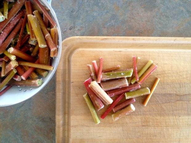 chopped garden-picked rhubarb
