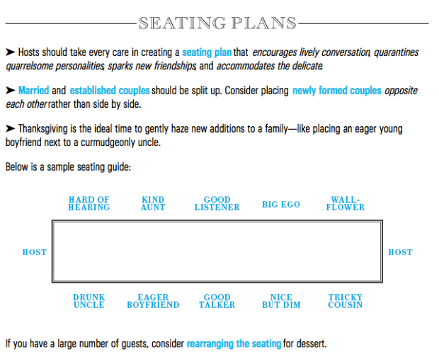 seating guide, among other great tips and tricks, from bon appétit