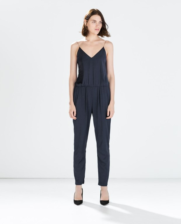"zara ""chain strap long jumpsuit"" - this jumpsuit is the prettiest blue around"