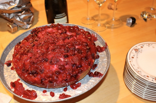 cranberry-raspberry upside down cake