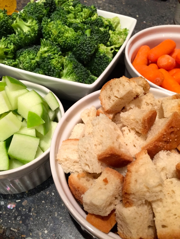 a nice assortment of dipping options, including gluten free bread