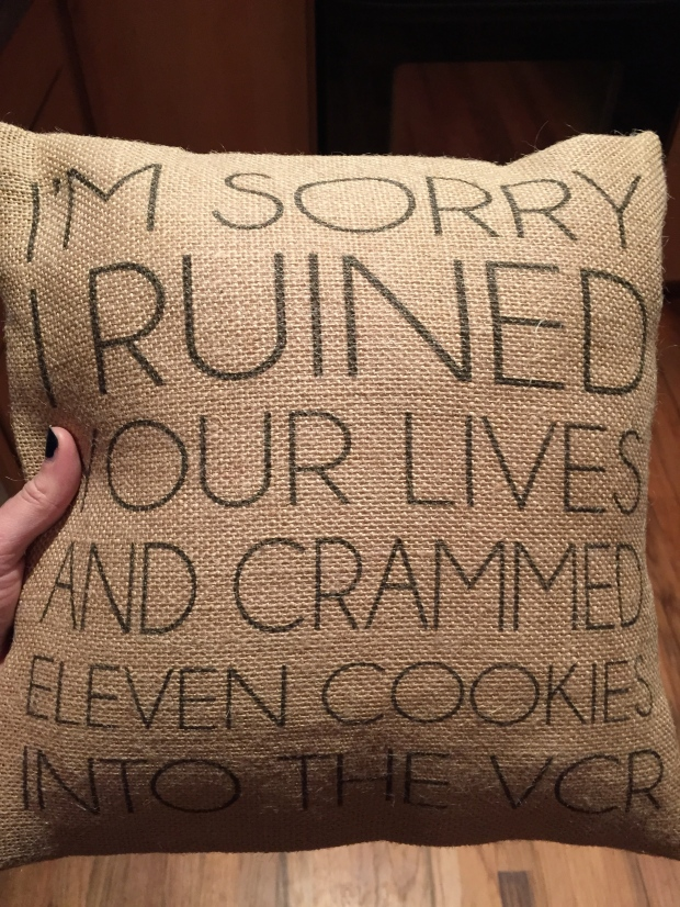 an incredible etsy pillow ft. an elf quote, a gift from Erica