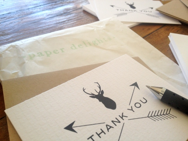 thank you cards from Paper Delights