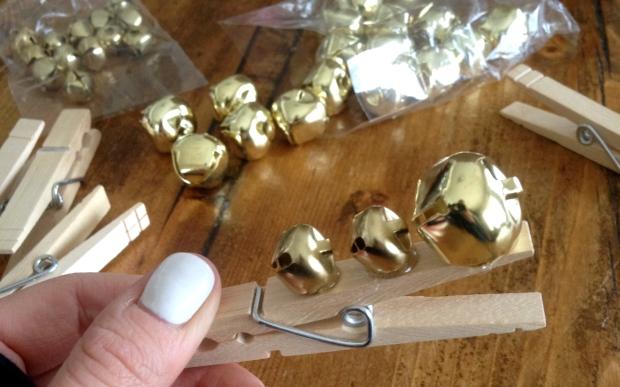 line up bells along clothes pin