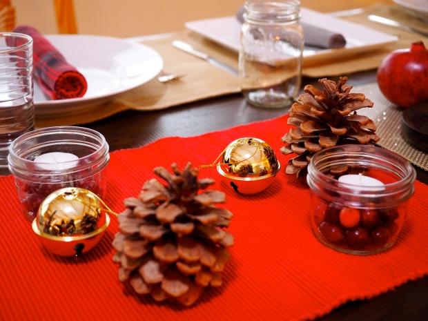 bells, pinecones & cranberry candle votives
