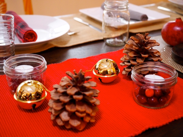 bells, pinecones & cranberry candle votives