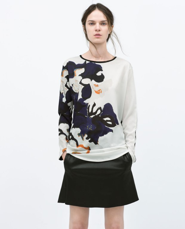 zara - floral printed t-shirt