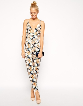 asos - barely there jumpsuit in floral texture