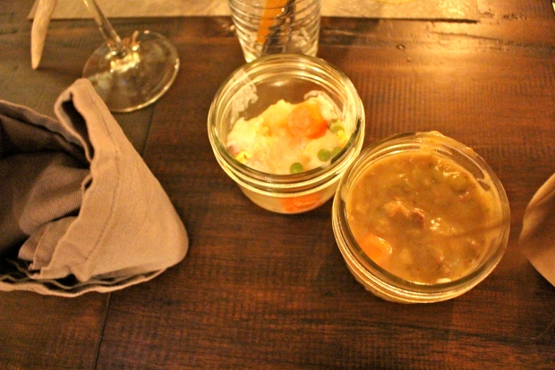 mason jar servings of pot pie and gumbo