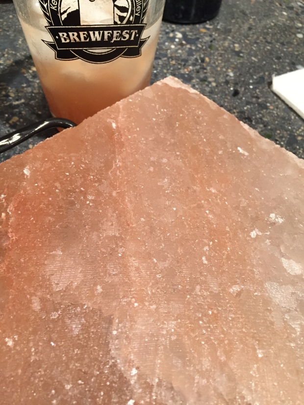 himalayan salt block that we've been grilling on since christmas — they're amazing!