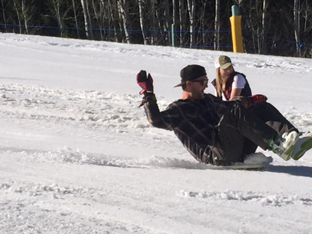 i went down backwards while taggart hauled down the hill like he always does
