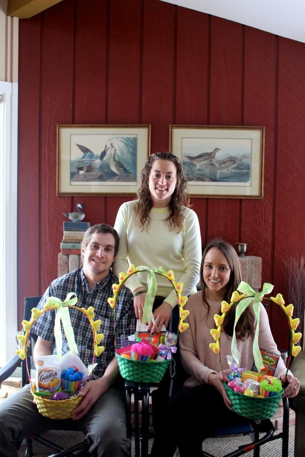 "awkward easter family posing + the most creative ""peeped"" out baskets around"