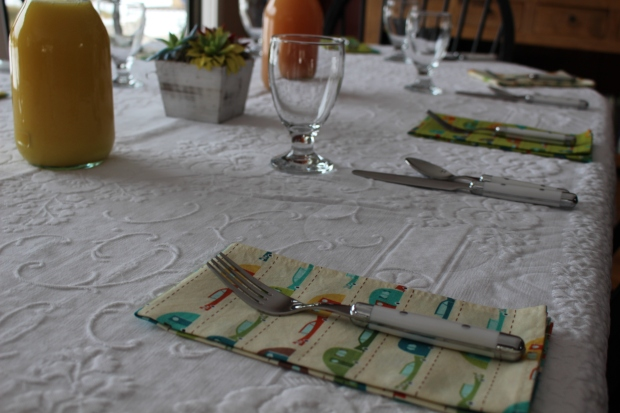 easter brunch table at the boy's parents