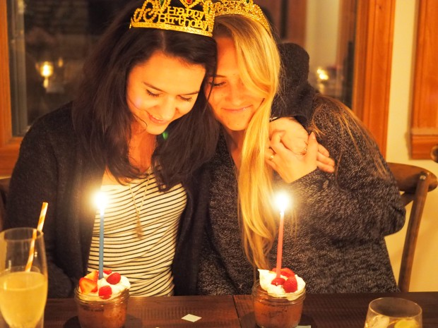 the birthday girls making a wish...in their birthday crowns
