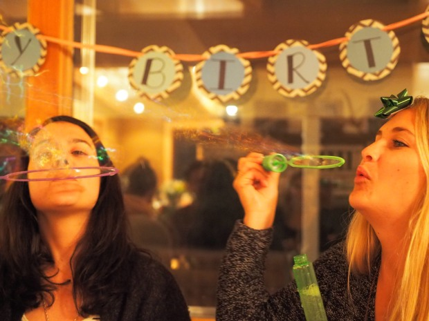 the birthday girls got some bubbles and glow sticks — great party gift/immediate favor!