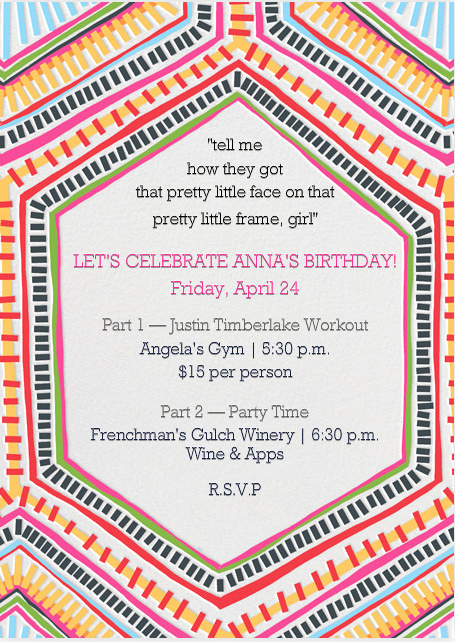 JT hosted a super fun bday party for Anna. So nice of him! Pretty proud of this invite...